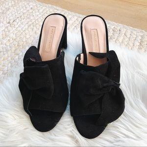 Avec Les Filles Black Suede Bow Block Heels